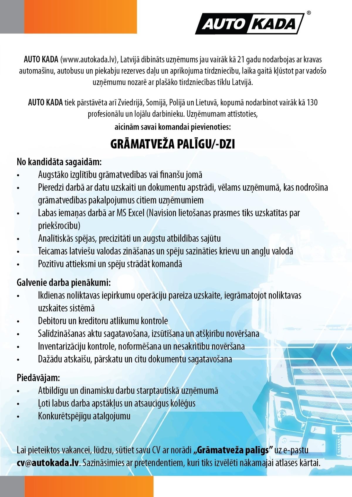 Darba piedāvājumi - Darbs - CV Market vakance Tirdzniecības menedžera palīgs Liepājā, Liepāja