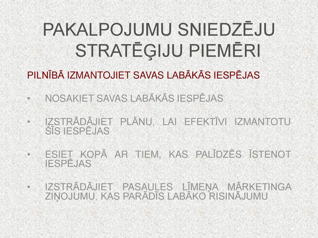 iespēju stratēģiju piemēri
