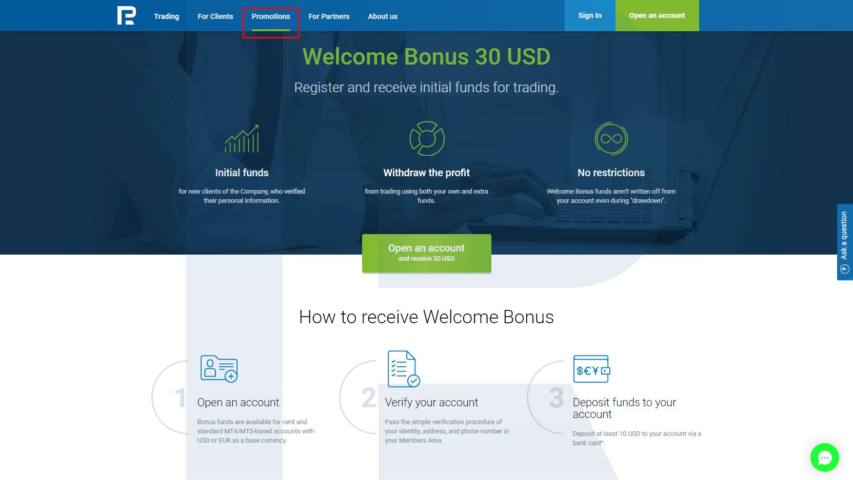 Bez bināro depozīta bonuss opciju