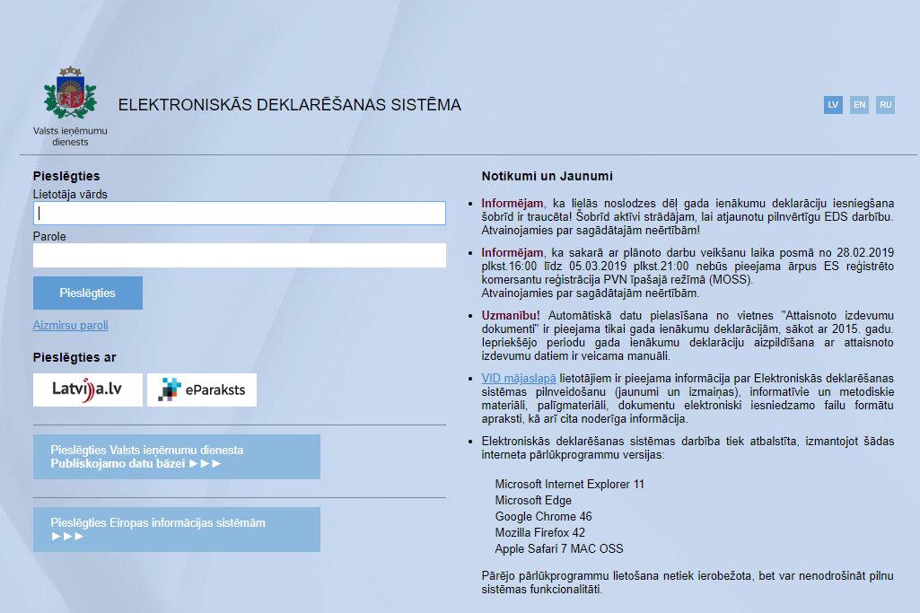 tiešsaistes ieņēmumi vietnē)