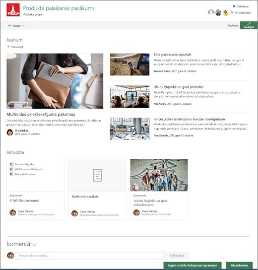 Saziņas vietnes izveide pakalpojumā SharePoint